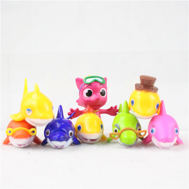 New 8pcs The Shark Family Baby Shark Clown Fish Microlandscape Cake Dolls Decoration PVC Figure Toy Kids Birthday Gifts