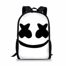 Купить с кэшбэком Casual Women Backpack Marshmello Pattern Prints Children Rucksack Daily School Daypack Mask DJ Men Kids Satchel Travel Bags