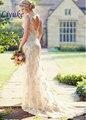 Elegante Frisada Tulle Cintas de Espaguete Querida Vestido de Noiva Bainha Natural Cintura Backless Bride Dress Vestido De Noiva