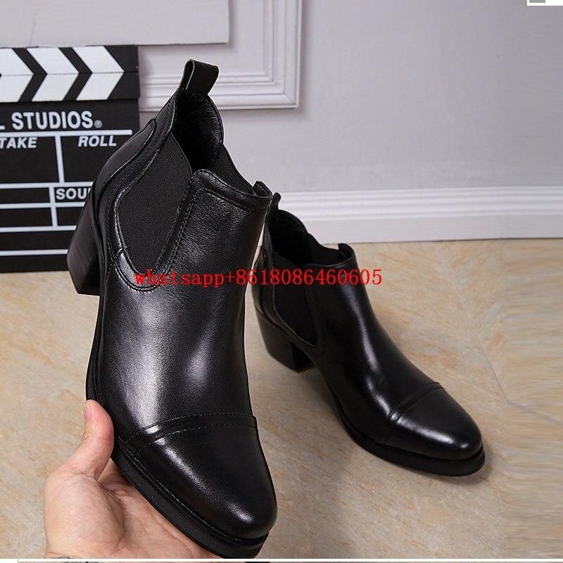 Zobairou Mens Shoes High Heels Black Leather Ankle Boots Autumn Winter Chelsea Boots Bota Militar Casual Cowboy Boots wool felt cowboy hat stetson black 50cm