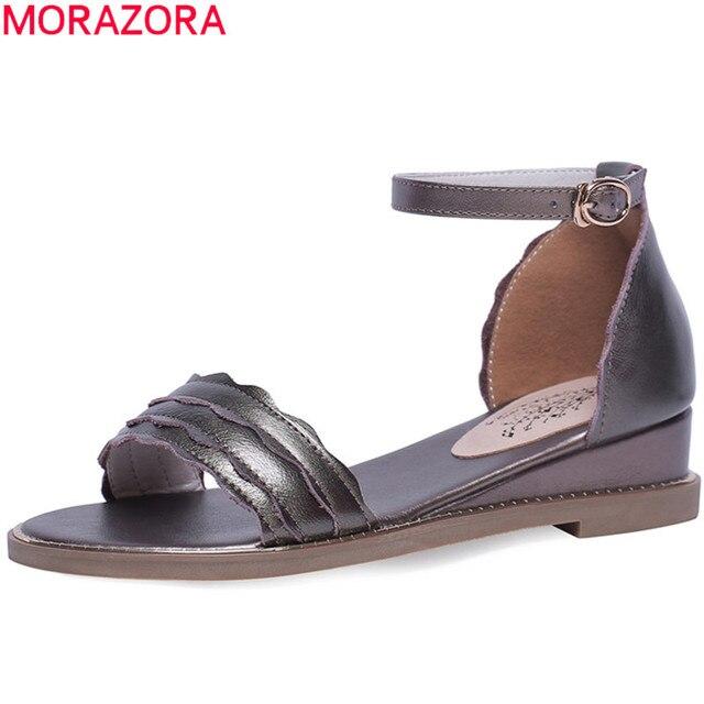 MORAZORA 2019 hakiki deri ayakkabı kadın sandalet ayak bileği toka yaz ayakkabı basit rahat rahat ayakkabılar kadın takozlar ayakkabı