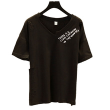 irregular v collar simple graphic tees women cotton t shirt 2019 korean style summer top female aesthetic fashionable camiseta