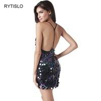 RYTISLO Summer Women Sexy Dresses Backless Deep V Neck Mini Beading Sequins Dress Plus Size 2XL