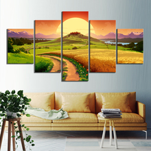 5 Panels HD Anime Girl Pictures Catwomen Cartoon Landscape Paintings Canvas Art for Home Decor