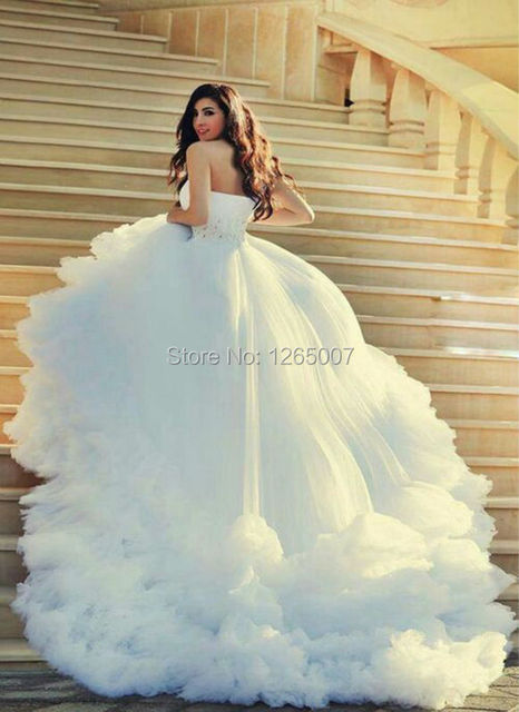 Fashion Sweetheart Pleats Sparkly Beaded Puffy Tulle Ruched Ruffles Princess Ball Gown Wedding Dresses Bridal