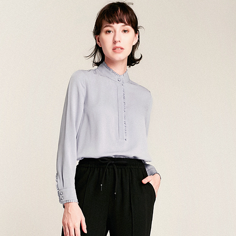 100 Heavy Silk Blouse Women Shirt Elegant Patch Simple Design Long Sleeves Office Work Top Graceful