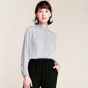 Image 1 - 100% schwerer Seide Bluse Frauen Hemd Elegante Patch Einfache Design Lange Ärmel Büro Arbeit Top Anmutigen Stil Neue Mode 2018