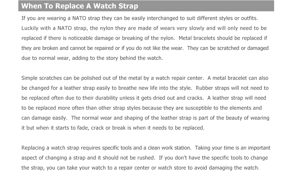 When to replace a wathc strap