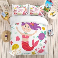 3D Cartoon Print Mermaid Bedding Set 3pcs Duvet Cover Pillowcases Baby Comforter Bed Sets Bedclothes Full Twin Queen King Size
