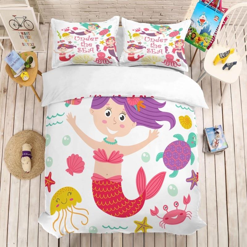3d 만화 인쇄 인어 침구 세트 3 pcs 이불 커버 pillowcases 아기 이불 침대 세트 침구 전체 트윈 퀸 킹 사이즈-에서침구 세트부터 홈 & 가든 의  그룹 1