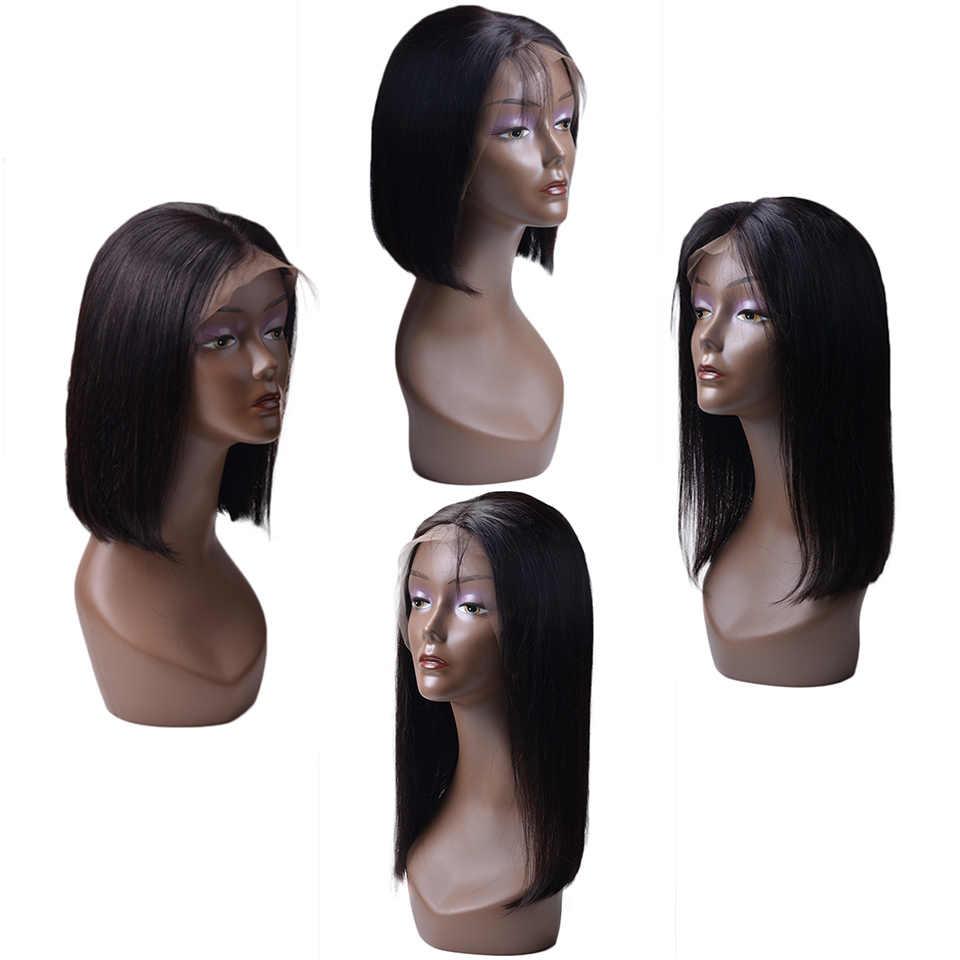 Синтетические волосы на кружеве человеческих волос парики для черный Для женщин бразильский Реми короткий Боб 13X4 Синтетические волосы на кружеве обесцвеченные парики вида шишка-пучок с ребенком волос