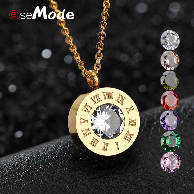 ELSEMODE Famous Brand DIY 7PC Shine AAA CZ Stone+1PC Interchangeable 316 L Stainless Steel Necklace For Women Girl Gift Jewelry
