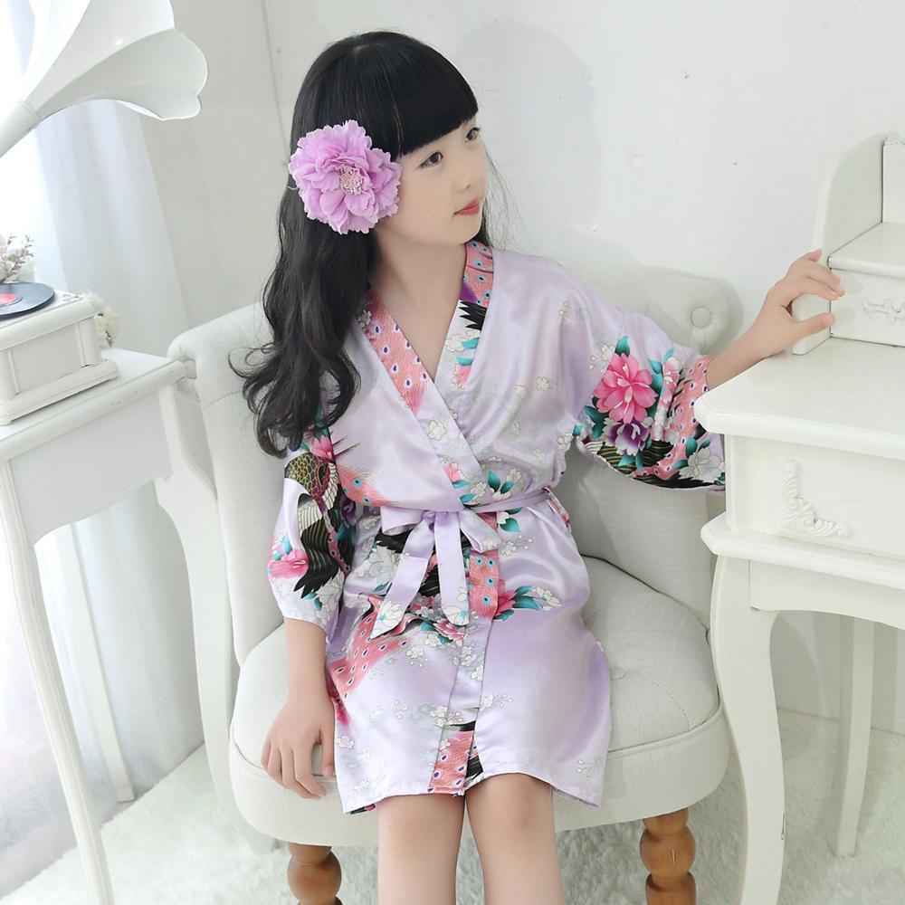 Lovely New Kid Silk Floral Wedding Robe Kimono Bride Flower Girl Dress Children Bathrobe Sleepwear Baby Clothes Dressing Gown