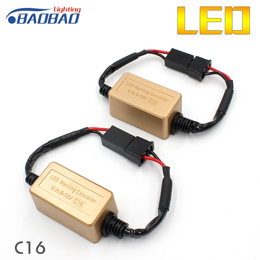 2 Pcs C16 Car LED Headlight Decoder, Canceller 9005 9006 H1 H3 H4 H7 H11 car styling Error Free Load Resistor Canbus Decoder 2x car 1157 bay15d 1034 warning canceller error free load resistor led decoder