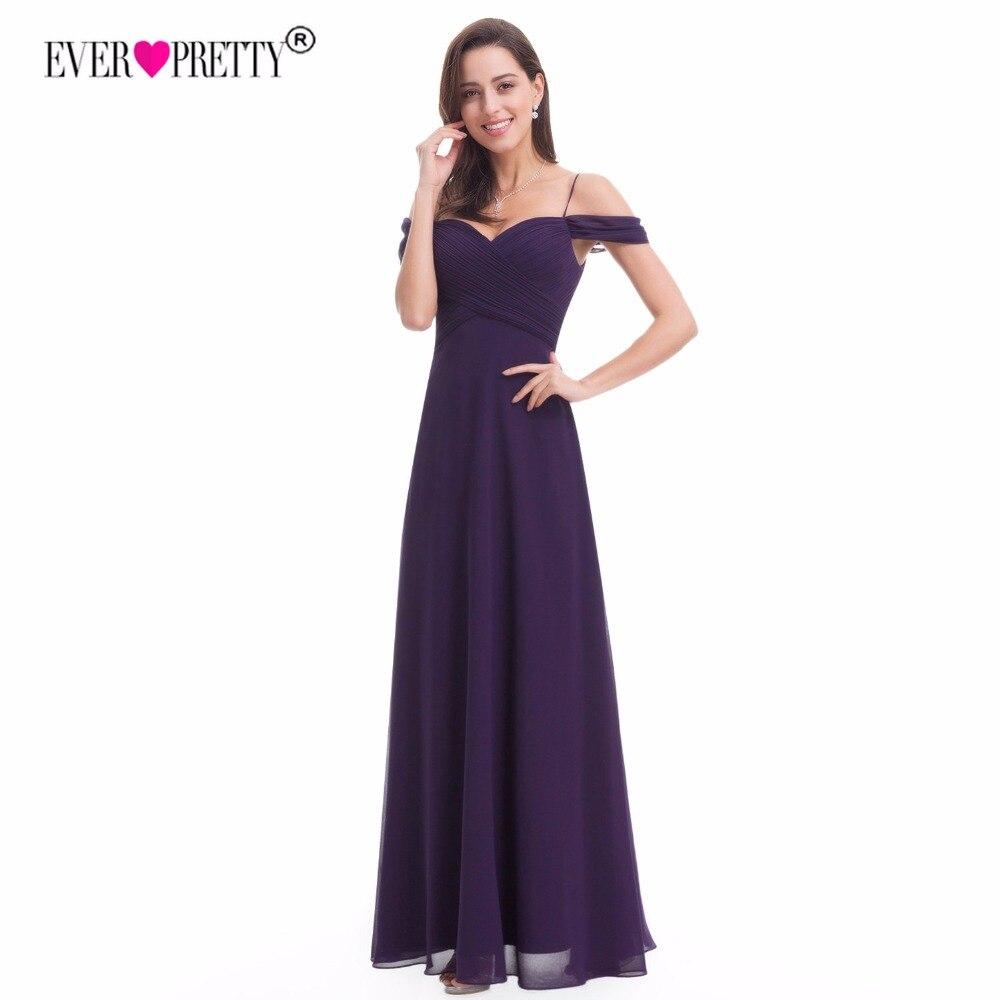 Ever Pretty Purple Chiffon   Bridesmaid     Dresses   Elegant A Line Off Shoulder Wedding Party Gowns Vestido De Festa Longo EP07079DP