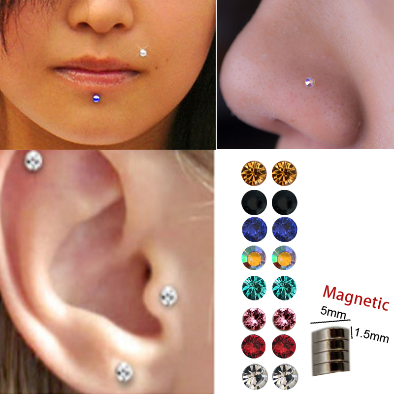 3 Pairs Of Fake Nose Stud Non Piercing Ear Tragus Helix Earring Crystal Magnet Nose Ring