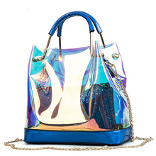 US $13.23 51% OFF|BENVICHED 2019 Transparent Hologram Laser Handbags Bag Women Jelly Shoulder Bag Female Harajuku Big Tote Girl Messenger Bag D115-in Top-Handle Bags from Luggage & Bags on Aliexpress.com | Alibaba Group