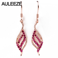 AULEEZE 0.46cttw Natural Ruby Drop Earrings Solid 18K 750 Rose Gold 0.23cttw Real Diamond Earrings For Women Gemstone Jewelry