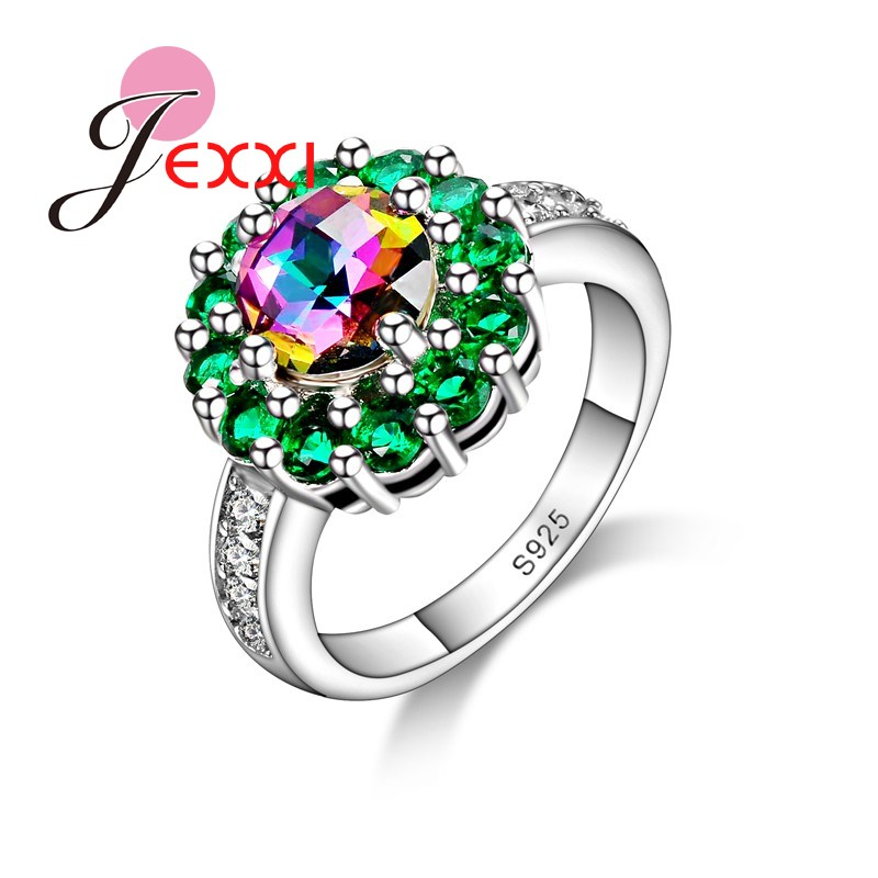 JEXXI Green Flower Special Design With Full Shiny Cubic Zirconia 925 Sterling Silver Fashion Jewelry Wholesale Price For Women
