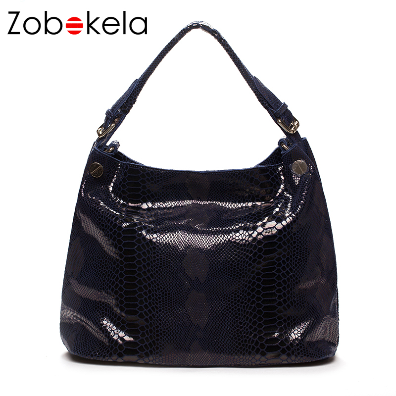 Zobokela Genuine Leather Shoulder Handbag Women Bag Female Crossbody Bags For Women Messenger Bag Tote Serpentine Snake Partten rdywbu brand genuine leather tote handbag 2017 women colourful flowers patchwork shoulder bag plaid messenger crossbody bag b293