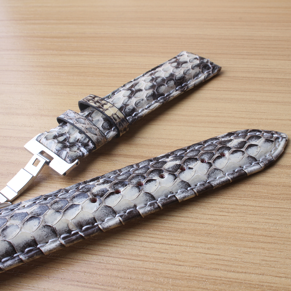 Bracelet spécial en cuir de serpent blanc avec des accessoires de montres de couleur mélangée noire avec boucle en métal argenté 20mm 22mm pour hommes - 5