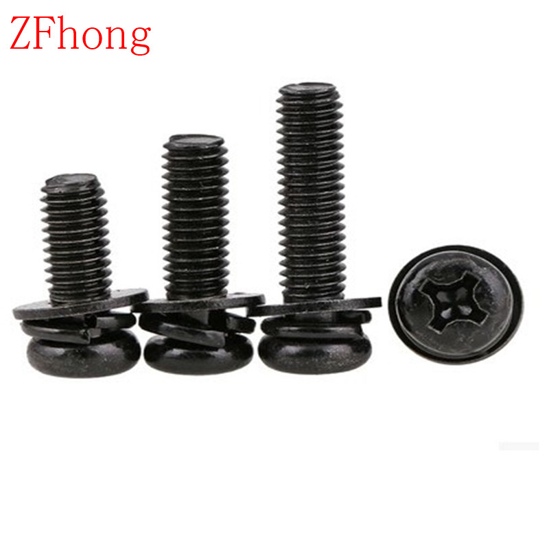 100pcs M4*6/8/10/12/16/20/25/30/35/40/45/50 steel with black phillips three parts Pan Head Combination screw