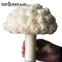 Topqueen F3-I باقات الزفاف الاصطناعي زهرة العاج باقة الزفاف في المخزون مذهل اليدوية الزهور وصيفة الشرف