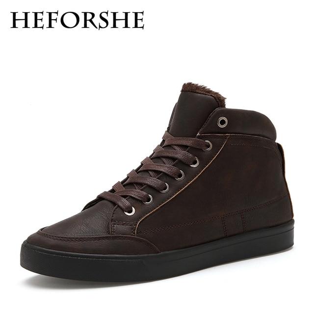 HEFORSHE Men Shoes 2017 Hot-Sale Men's Fashion Solid Thick Fur Plush Warm Shoes Male Casual Breathable Winter Men Shoes MXR053