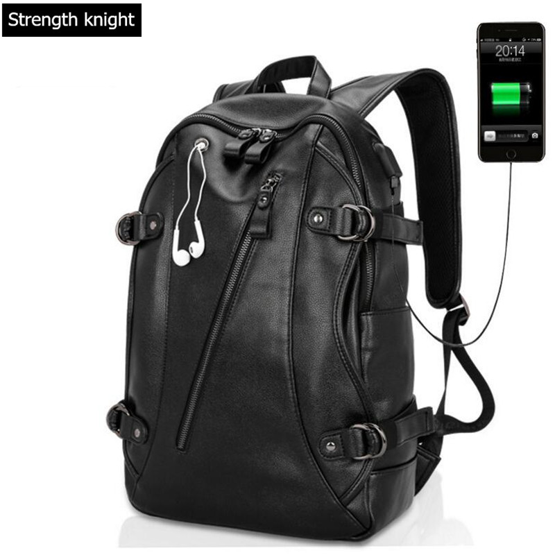 Multifunction USB charging Men 14inch Laptop Backpacks For Teenager Fashion PU Leather Male Mochila Leisure Travel backpack multifunction usb charging men 14 15 inch laptop backpacks for teenager fashion male mochila leisure travel backpack anti thief