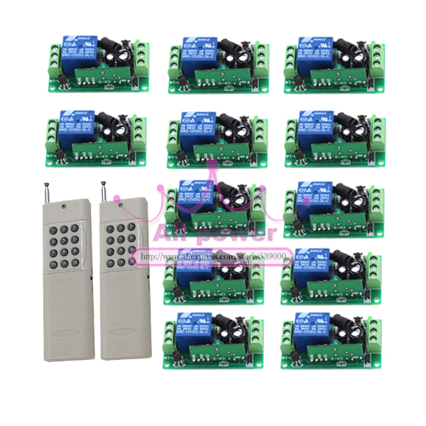 12 Receiver+ 2 Transmitter Wireless 315MHZ DC 12V 1 Channel Remote Control Switch Relay Output 150m controller