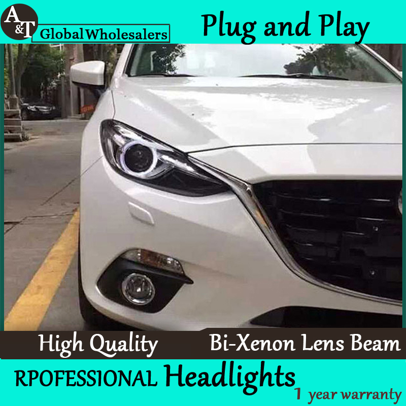 Бесплатная доставка стайлинга автомобилей для Mazda 3 Axela передняя фара в сборе новые светодиодные линзы фары двойной Луч H7 с HID комплект 2шт.