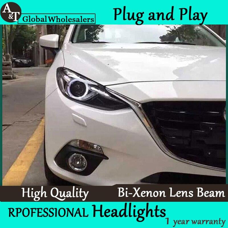 Free Shipping Car Styling for Mazda 3 Headlights New Axela LED Headlight DRL Lens Double Beam H7 HID Xenon bi xenon lens free shipping 2016 new style transparency waterpoof uv proof car styling sticker koala cowra nici