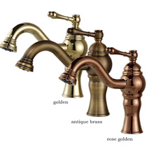 Golden Brass Bathroom Basin Mixer Single Lever Deck Mounted Washing Lavatory Sink Faucet Free Shipping