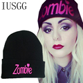 Letter Zombie Black Embroid Knitting Hat Beanies Men's Skullies Winter ski Wool Knitted Hat Male Brand Beanies Cap Casual bonnet