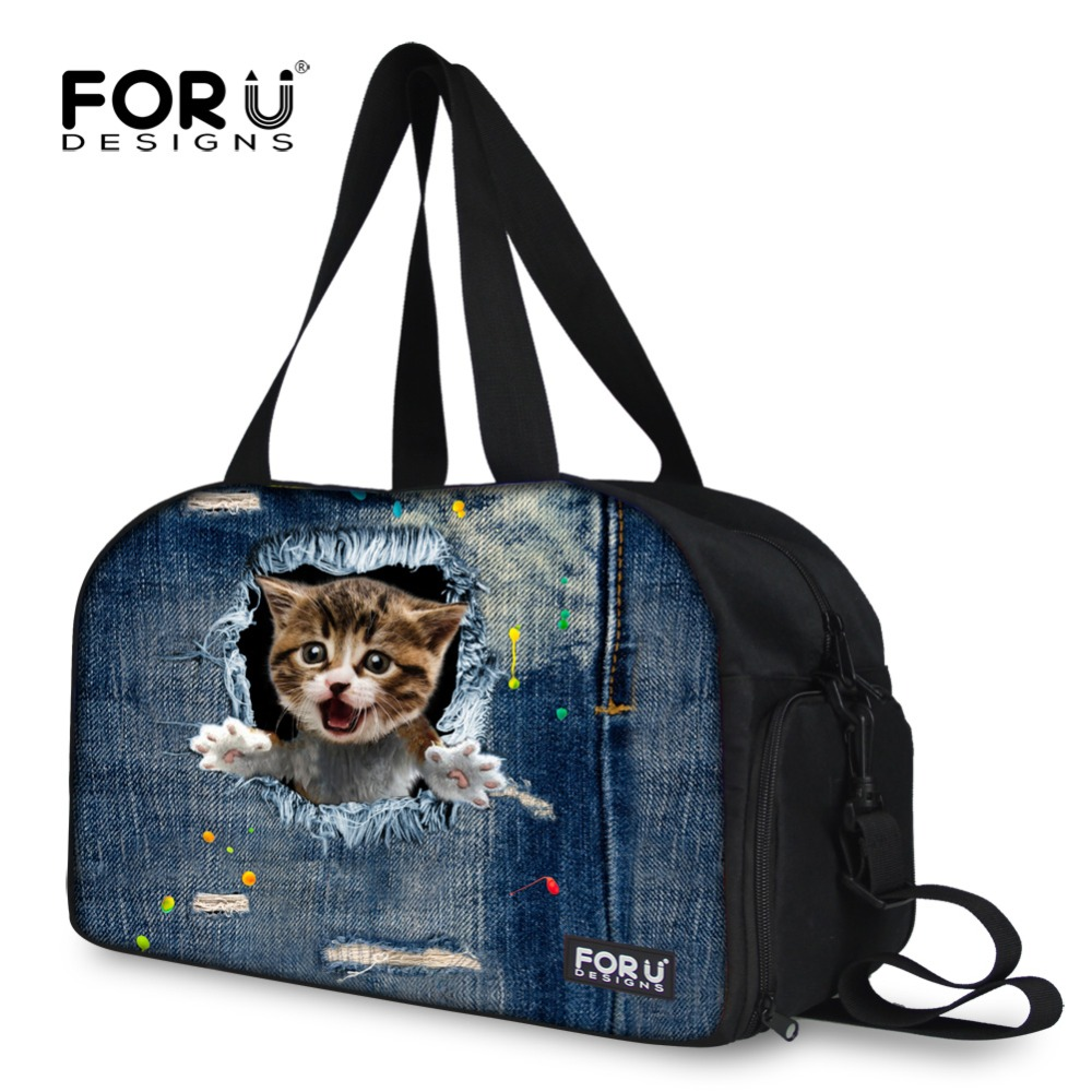 FORUDESIGNS 2017 Denim Cat Women Duffel Bags,Large Capacity Luggage Travel Bag for Female. Ladies Big Shoulder Weekender Bags