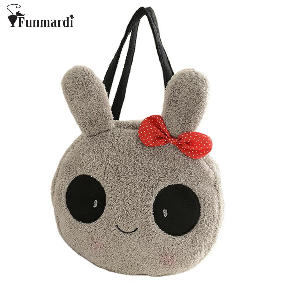 New arrival in winter cute cartoon panda with bow design velour women handbag Shoulder Bag totes