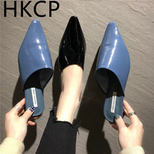 HKCP Baotou slippers women 2019 summer new retro patent leather pointed low with lazy people wear outside C353