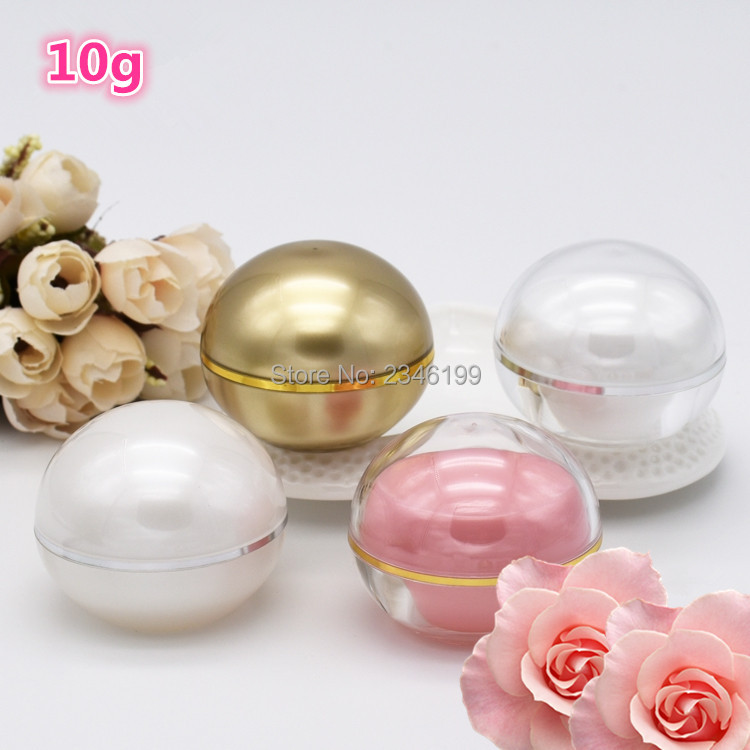 10g 50pcs Gold Pink Color Ball Shaped Plastic Bottles Cosmetic Jar Emulsion Eye Face Cream Container