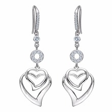 Bella Fashion 925 Sterling Silver Hollow Heart Bridal Earrings Cubic Zircon Wedding Earrings For Party Jewelry Valentine's Gift