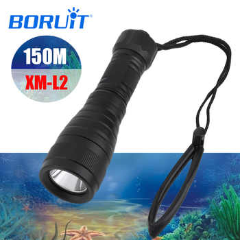 BORUiT XM-L2 LED Scuba Diving Flashlight Underwater 150M Torch Super Bright Diver Lantern Submarine Light for Spearfishing - DISCOUNT ITEM  20% OFF All Category