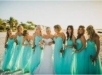 Vestido Madrinha De Casamento Lace Up Turquoise Bridesmaid Dress Long Chiffon Bridesmaid Dresses 2015 Vestido Para Madrinha