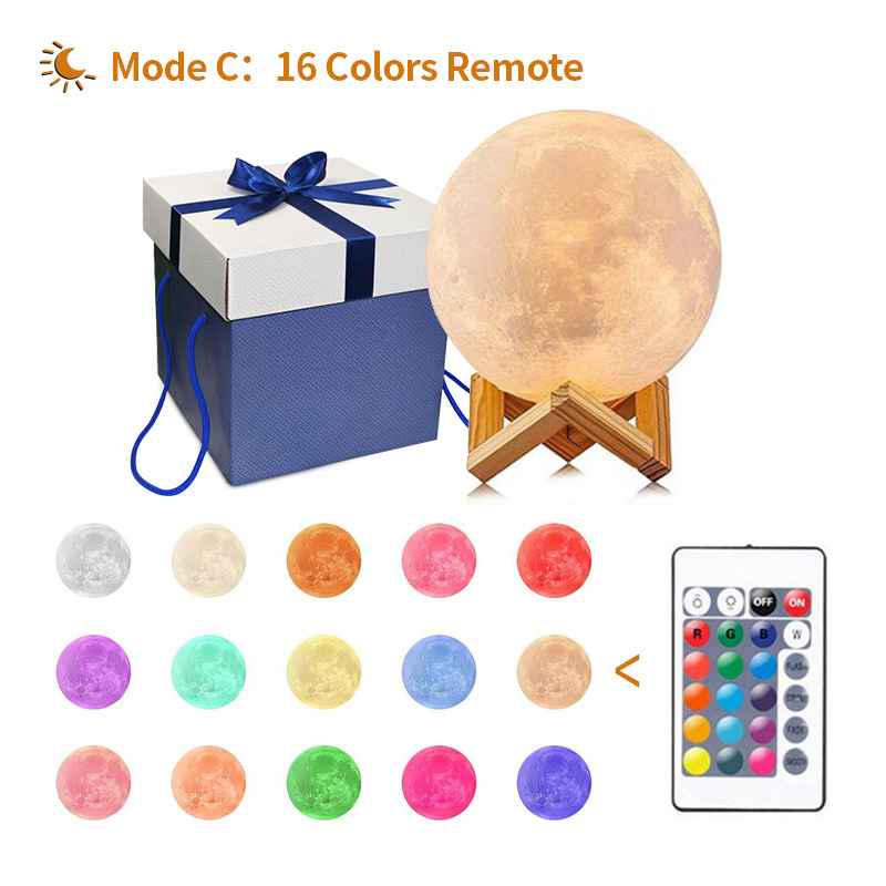 3D Printing Moon Lamp Usb Rechargeable Moon Lamp 18cm 20cm 2 color 16 Color Led Remote Bedroom Decor Kid Gift Moon Light fixture novelty 3d full moon lamp led night light usb rechargeable color changing desk table light home decor 8 10 12 15 18 20cm