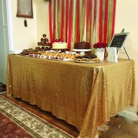 Wholesale 10PCS Gold Sequin Tablecloth Wedding Cake Tablecloth Rectangle Sequin Table for Wedding Decoration90x156inch