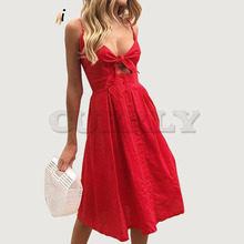 Cuerly 2019 summer chic button front bow sundress women fit and flare beach midi dress cute v neck strap female vestidos L5