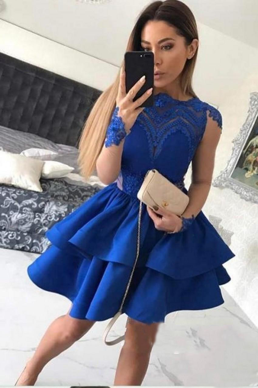 Fashionable Cheap Royal Blue Long Sleeve Cocktail Dresses For Girls Party Formal Dresses Short Prom Gowns With Tiered Skirt