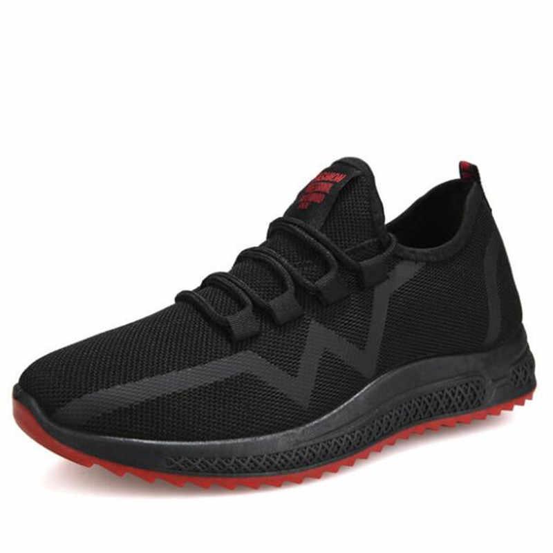 DIWEINI 2019 جديد الأزياء حذاء رجالي عارضة النسيج يطير شبكة تنفس ضوء لينة أسود Slipon رجل حذاء الذكور المدربين أحذية رياضية