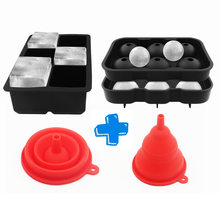 1 Set 6 Hole Ice Cube Ball Drinking Wine Tray Brick Round Maker Mold Sphere Mould Party Bar Silicone Ice Hockey Maker