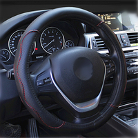 Hot Sell Environmental Rubber Inner Ring Leather Auto Car Steering Wheel Cover Apply To 38CM Car