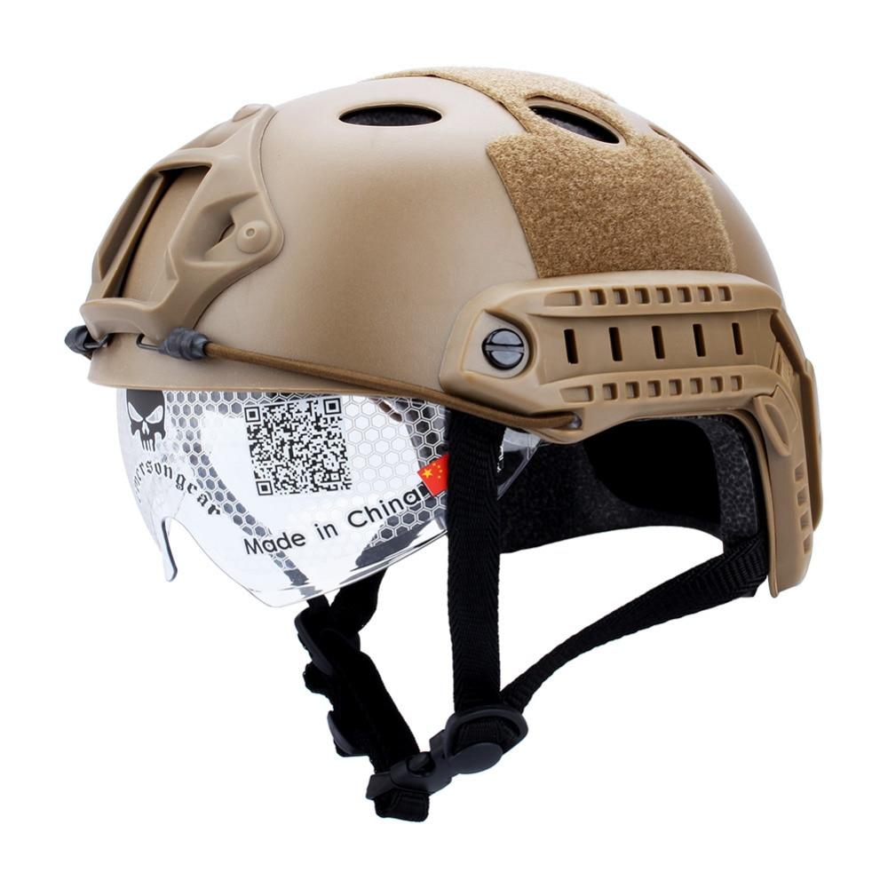 brownblack airsoft fast base jump helmet cover goggles Trainig Tactical Tactical Shooting School