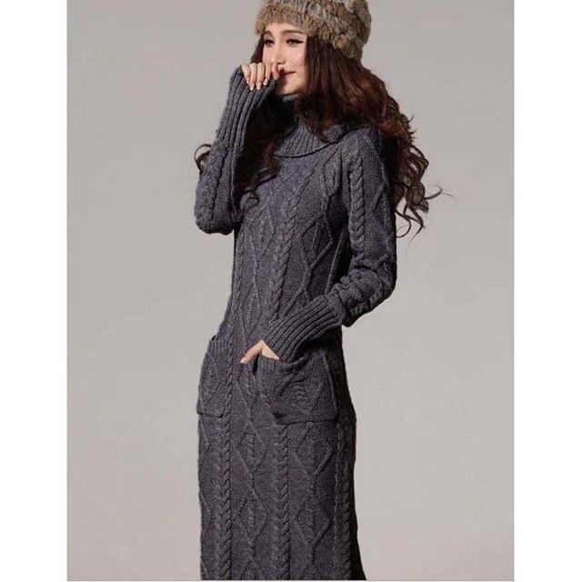 Женский вязаный модный свитер платье
